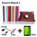 360 Rotating Litchi skin Leather case capa para cover for Xiaomi Mi Pad 2 7.9'' Tablet PC Flip Case PC For xiaomi 2+Film+OTG+Pen