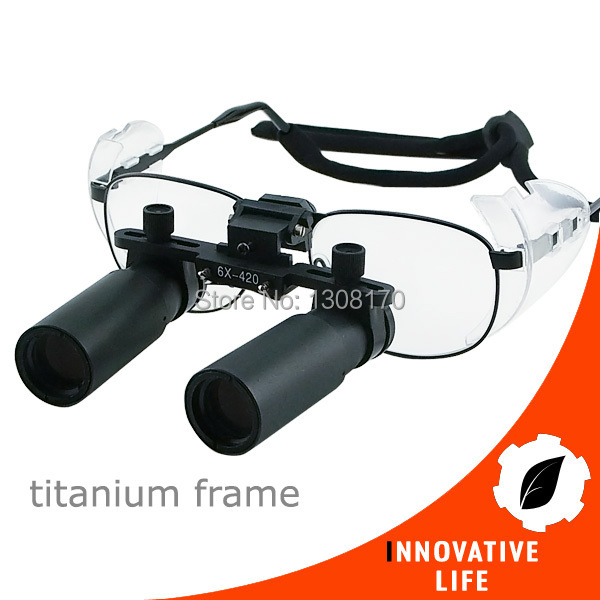 6 0x 6x Binocular Surgical Medical Dentistry Titanium Frame 420mm Working Distance Keplerian Prism Style Dental