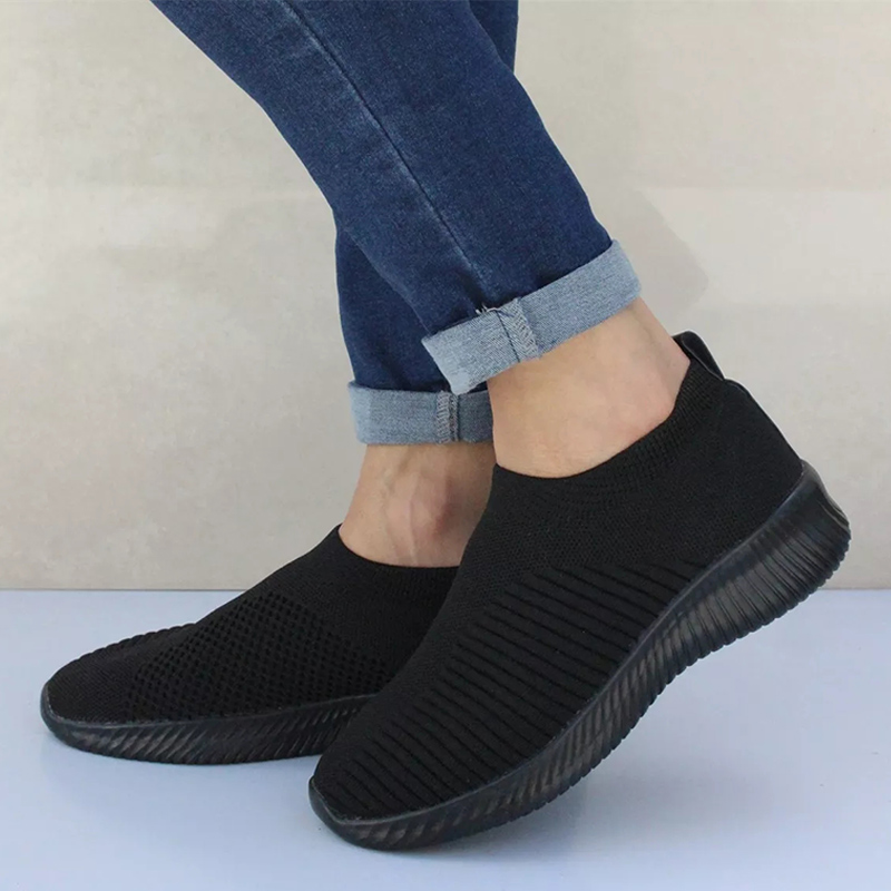Plus Size Women  Female Vulcanized Shoes Sneakers Knitted Sock Stretch Slip On Flat Shoes Air Mesh Casual Walking Drop Shipping(China)