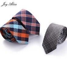 Joy alice 6cm Plaid Mens Neck Ties Neckwear Fashion Formal Wear Business Suit Tie Stripe Slim Cravat Cotton Skinny Brand
