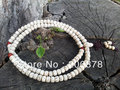 BRO615 Buddhist 108 White Lotus Bodhi Seeds Prayer Mala Bracelets 8x6mm 9x7mm Tibetan Barrel Starmoon Pamda Bodhi