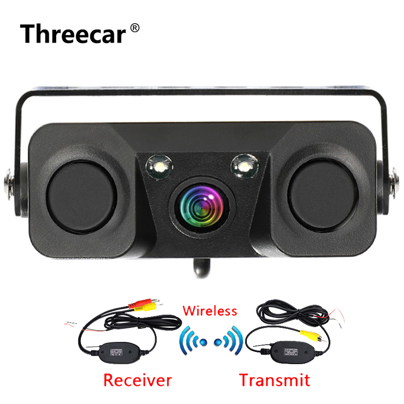 3 In 1 Car Night Vision Rear View Camera Radar Parking Sensor 170 Degree View Angle IP67 With 2.4G Wireless Transmitter Receiver
