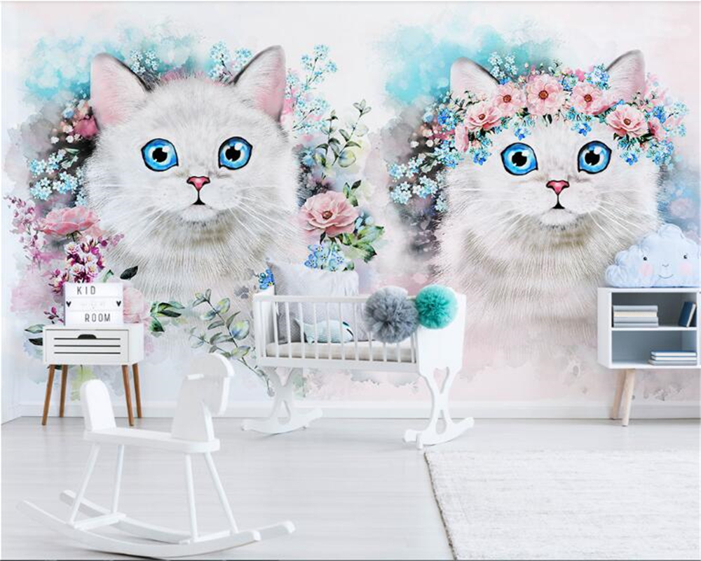 Beibehang personalizado personalizado decorativo papel de parede 3d nordic minimalista flor decoração do quarto das crianças behang