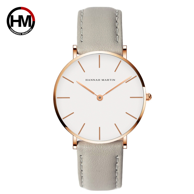 Hannah Martin Fashion Quartz Wrist Watches For Women Rose Gold Gray Simple Female Watch Leather Waterproof Ladies Watch Relogio