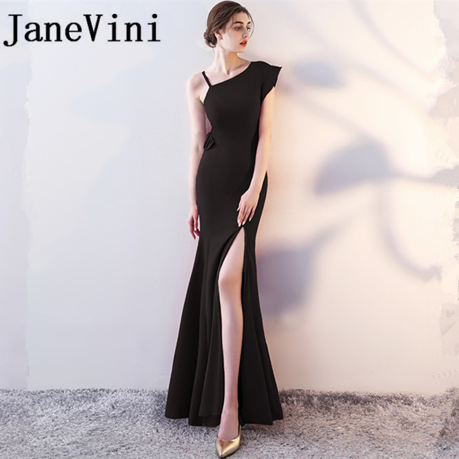 JaneVini Sexy Black Mermaid Long   Bridesmaid     Dresses   Chic One Shoulder Maid of Honor Gowns Floor Length Bruidsmeisjes Jurk Women