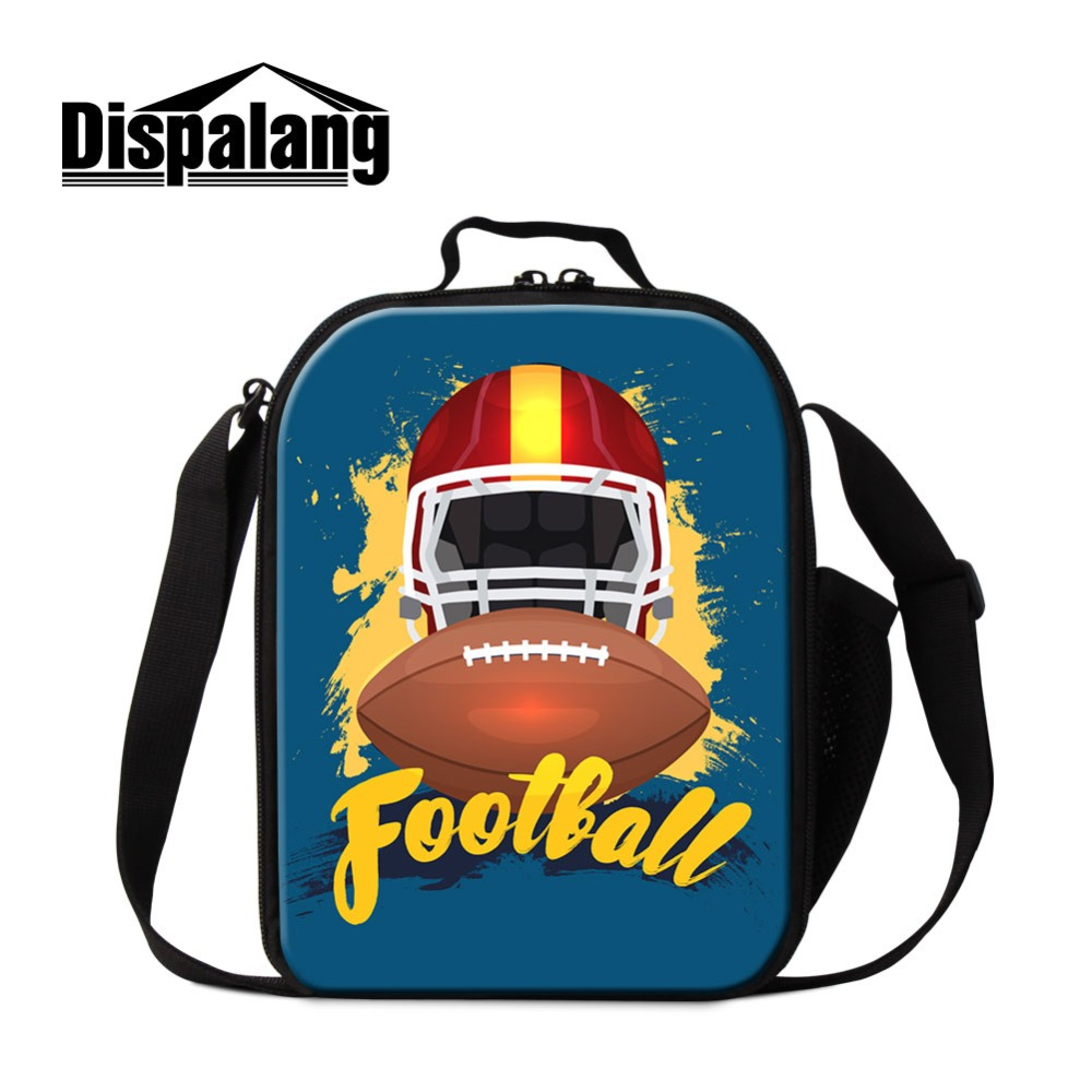 Dispalang Design Rugby. Printed Lunch Sack Case for Teens Insulated Child Lunch Box with Compartments Portable Boys Cooler Pack