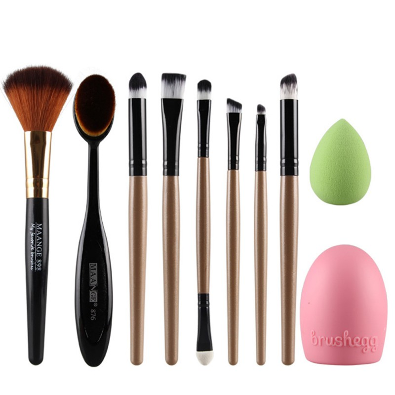 Pro Cosmetic Foundation Makeup Blush+Oval Toothbrush Brush+Sponge Puff Brushegg candy color calabash shaped cosmetic makeup cotton pads sponge puff pink