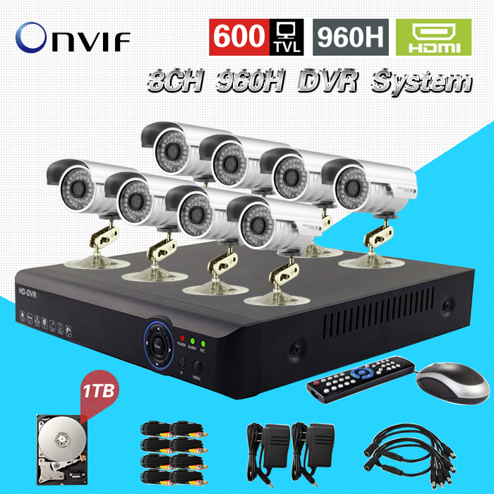 TEATE 8CH Full 960H real time recording H.264 CCTV DVR NVR recorder 8ch 600TVL Color CMOS IR outdoor waterproof cameras CK-058 new dvr 4 channel h 264 4ch full d1 real time recording support network mobile phone cctv dvr recorder 4ch security dvr