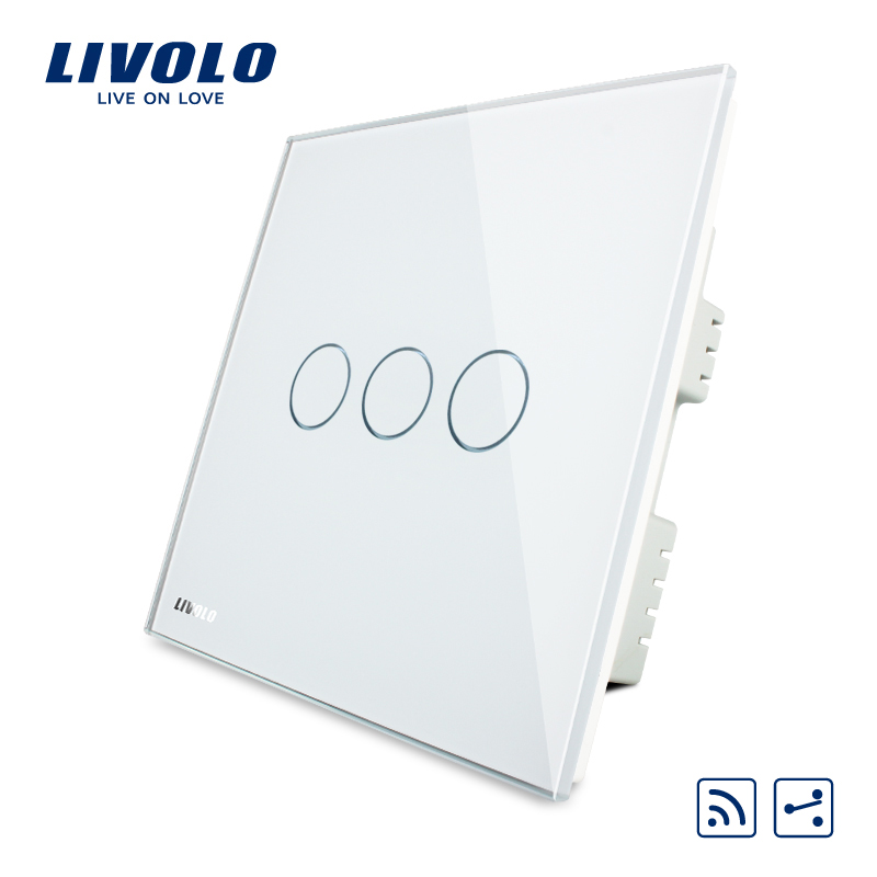 Livolo Remote Switch, White Crystal Glass Panel, AC220-250V,Wireless UK  Remote Home Light Switch,VL-C303SR-61,No remote smart home uk standard crystal glass panel wireless remote control 1 gang 1 way wall touch switch screen light switch ac 220v
