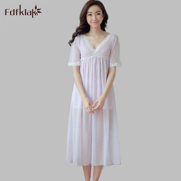 31fa91b843 Women Sexy Nightwear Cotton Sleepwear Underwear Lace Dress Nightgowns Women  Short Sleeve V-Neck White Princess Nightgown E1225