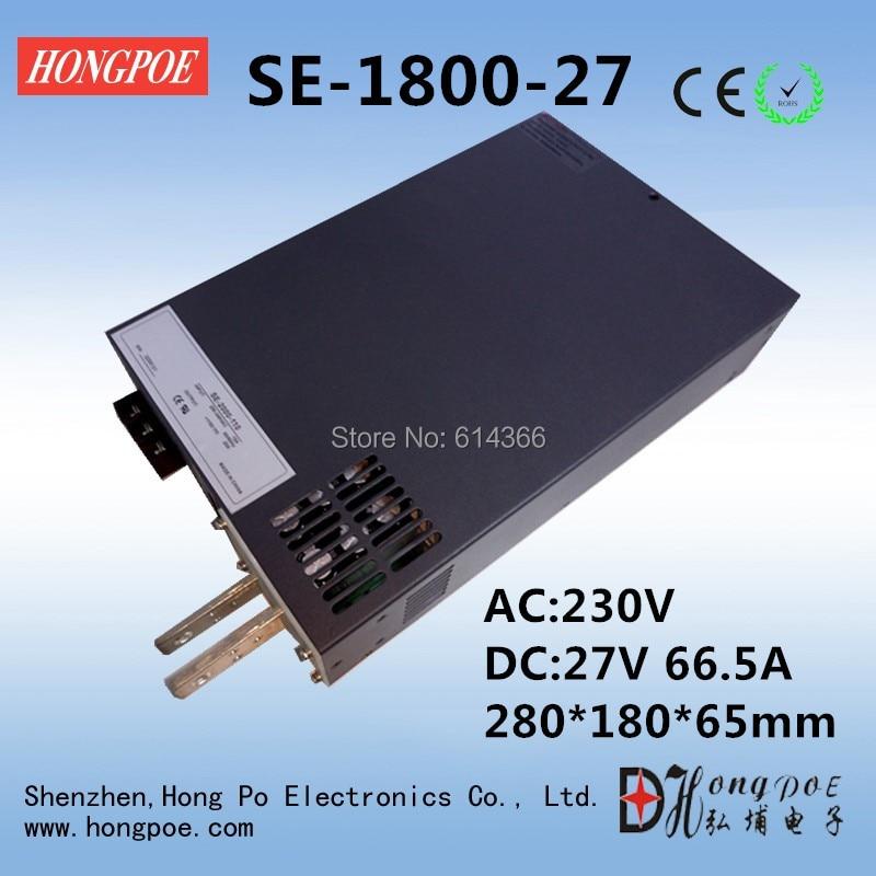 1PCS DC27V 0-27v power supply 27V 66A ac -dc 27V adjustable power AC-DC High-Power PSU 1800W SE-1800-27 rps3020d 2 digital dc power adjustable power 30v 20a power supply linear power notebook maintenance
