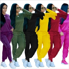 Фотография 2017 Autumn Winter Lantern Sleeve Tracksuit For Women Two Piece Set Casual Outfits Ruffles Sweatsuit Pants Suits Loose Clothing