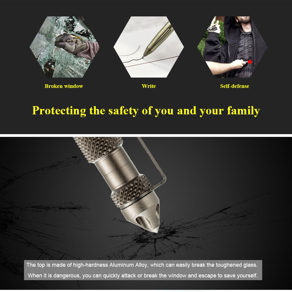 Купить с кэшбэком Aluminum alloy Tactical Pen Outdoor Camping Self-Defense Pen Aviation Anti Skid Portable Tool Stinger Pen Gold Sliver Black