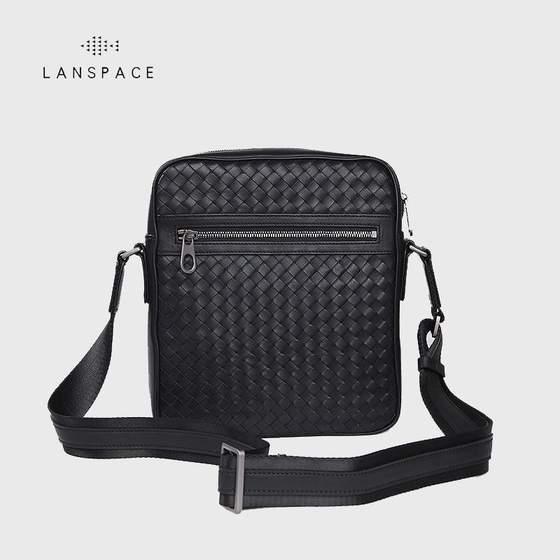 LANSPACE men's leather shoulder bag small bag handmade men bag fashion crossbody bag lanspace men s leather shoulder bags leisure crossbody bag fashion leather men bag