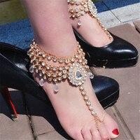 KOMi Luxury Bohemian Crystal Anklets Bracelets Sexy Women Summber Beach Foot Leg Chain Statement Anklets Jewelry O-758