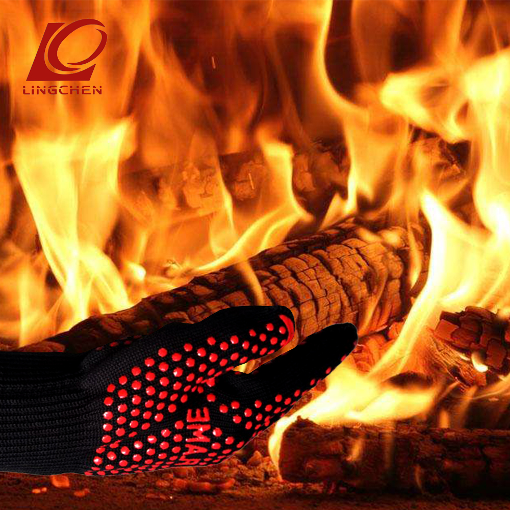 NEW Aramid Heat-resistant Gloves Red Silicone Heat Dissipating For High Temperatures Such As Barbecue Kitchen Camping Fireplaces