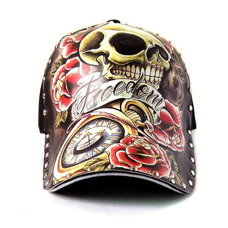 Prix pour 2017 hot crâne tête snapback pur coton casquette de baseball nouvelle mode personnalité illustrations de tatouage liu nail cap gorras