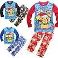 2016 nueva venta caliente pijamas de navidad juego de Los Niños kids pikachu pokemon pijamas camisón niños niñas ropa de dormir 3-10 años