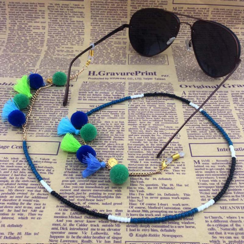 Women Glasses Chain Eyeglasses Necklace Eyewear Cord Band Cord Eyeglasses Sunglasses Cords Chain Beaded Metal Glasses Hot Sale