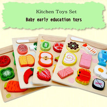 цены Fruit cognition children magnetically assembled fruit Jigsaw 4 set, Kids wooden Kitchen Toys Set, wood Assembly fruit blocks toy