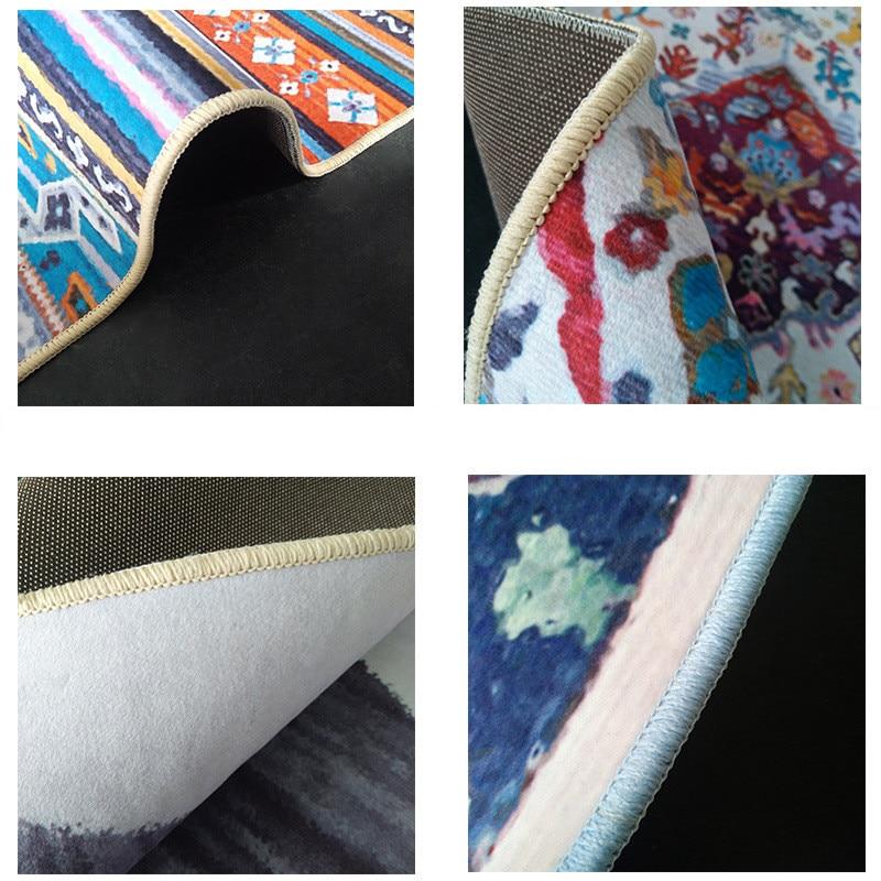 Image 5 - Vintage abstract ethnic style floral black Bedroom carpet  customization Living room bathroom mat non slip floor mat velvet  rugMat