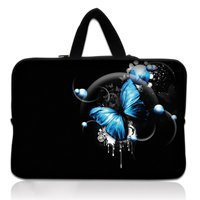 Free Shipping Blue Butterfly 15 Hot Netbook Laptop Sleeve Case Bag Cover Handle For 15 6