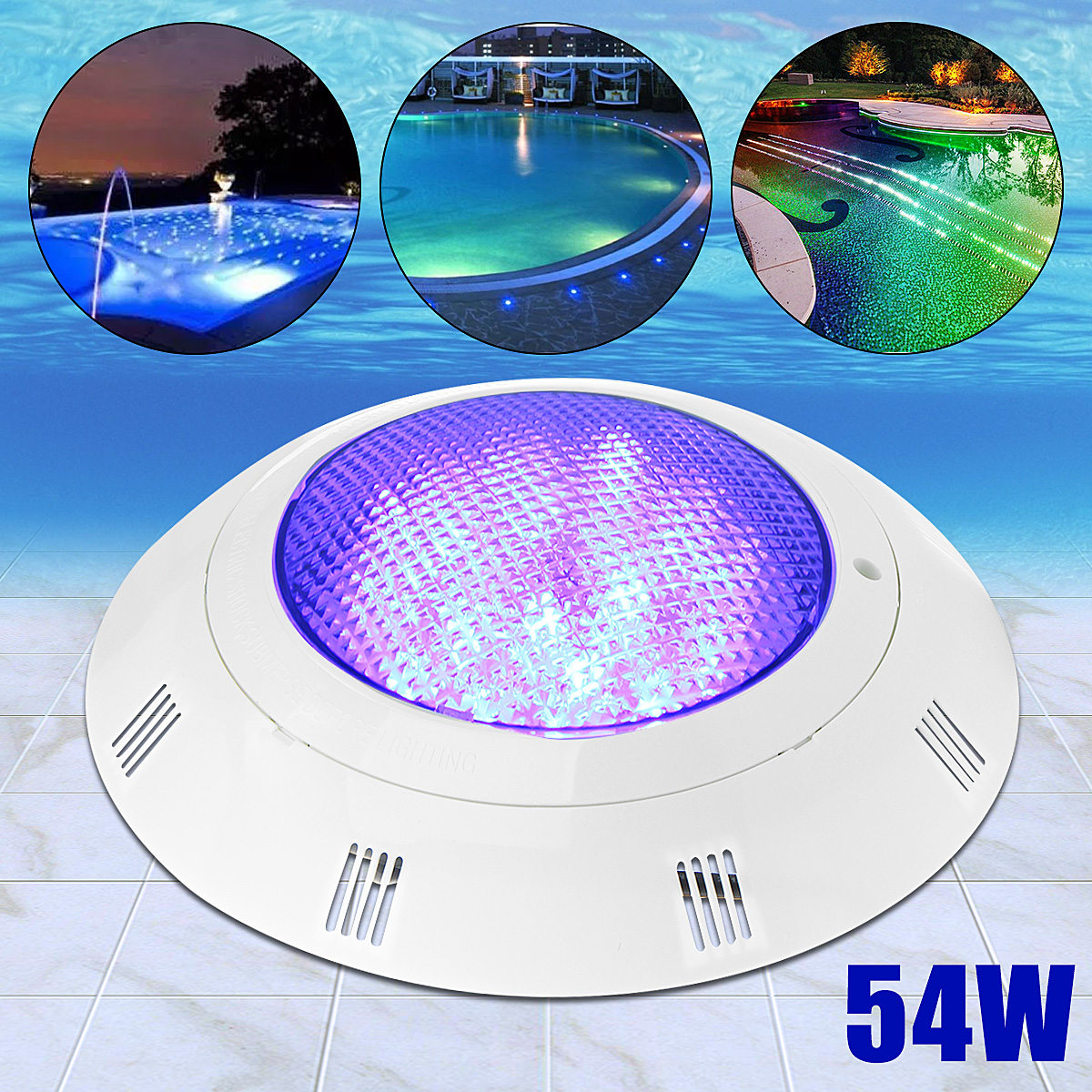 12V 54W Swimming Pool Light IP68 108 LEDs Wall Mounted Power LED Outdoor Underwater Lighting 7 Colors RGB Remote Control