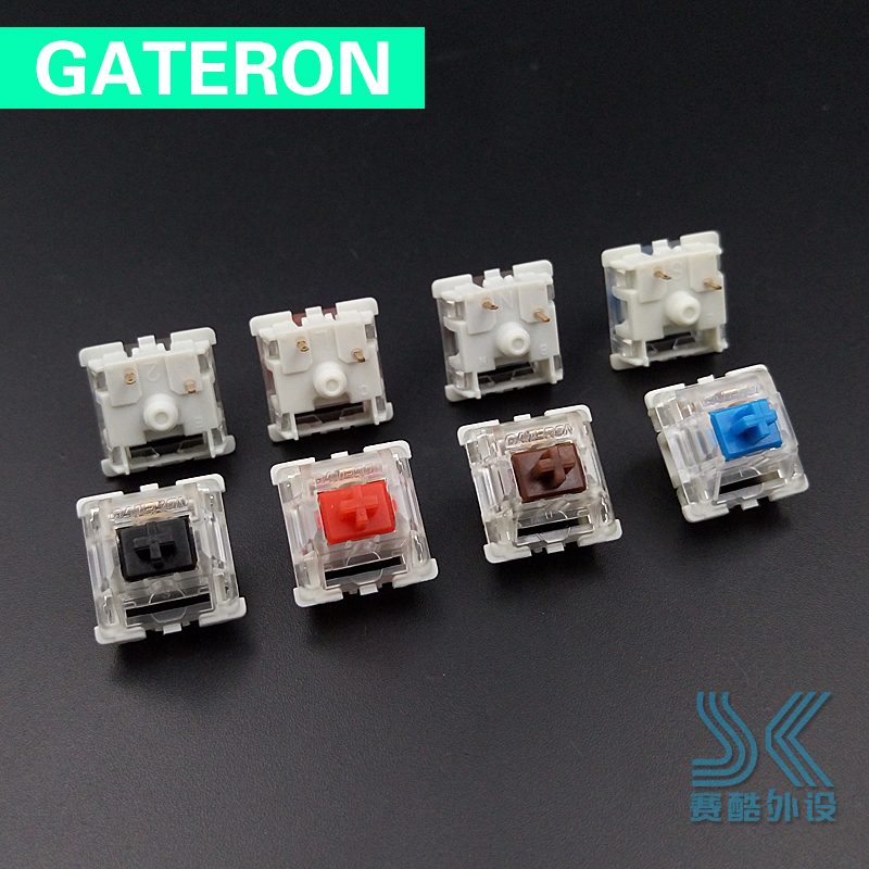 Gateron Mechanical Keyboard Switch 3 Pin Transparent Case Green Brown Blue Red Black Rgb SMD Switches For  Cherry Mx Compatible