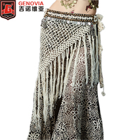 2018 Professional Women Belly Dance Hip Scarf Bellydance Costume Tribal Fringe Tassel Belt Copper Coins