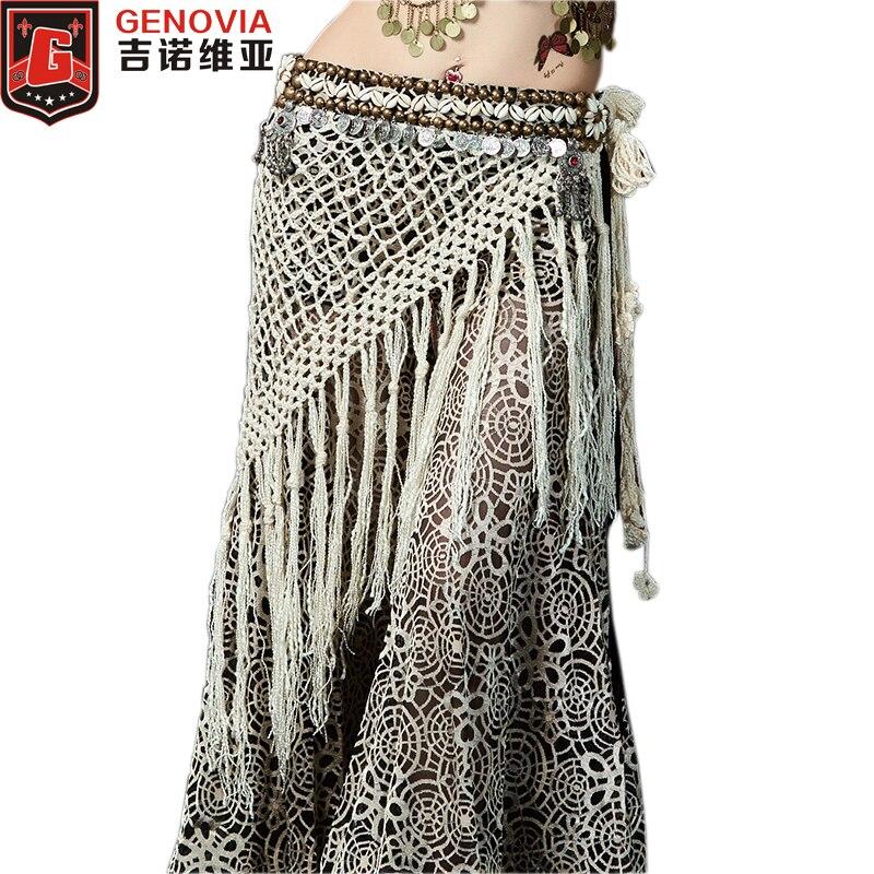 2019 Professional Women Tribal Belly Dance Hip Scarf Bellydance Costume Fringe Tassel Belt & Copper Coins Scarves
