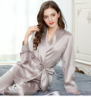 women's silk pajama sets 2019fashion brand 100% silk long sleeve spring women's sleep&lounge oversized pink pajama set female