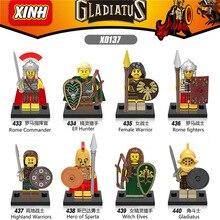 Spartacus roma Gladiatus Witch Elves Elf Hunter Comandante Lutador Herói Modelo Sparta legoings Building Blocks Brinquedos Figuras