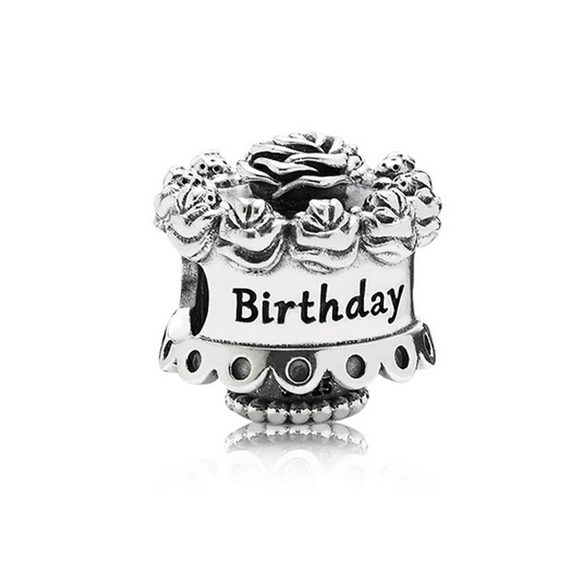 Authentic 925 Sterling Silver Bead Charm Happy Birthday Rose Cake Beads Fit Pandora Bracelet & Necklace Women Diy Jewelry