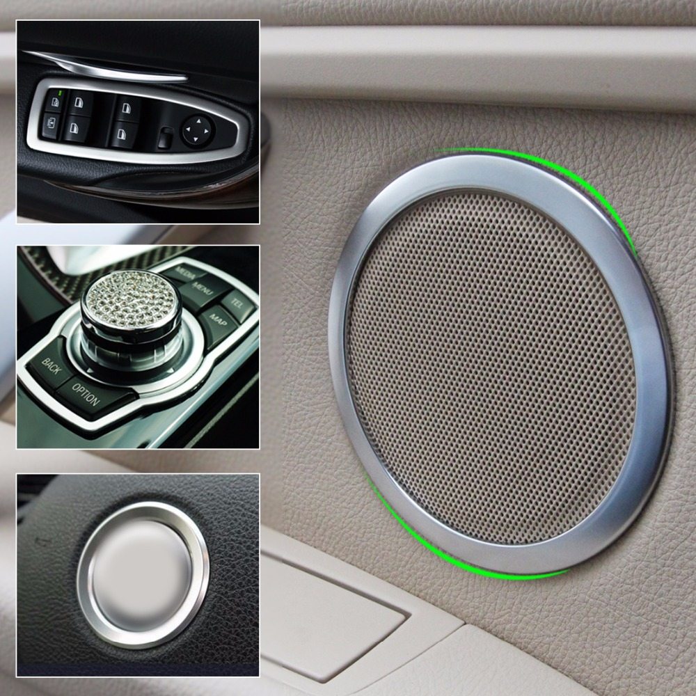 купить DWCX Window Switch Panel + Speaker + Steering Wheel Ring + Multimedia Button Interior Trim Cover For BMW 3 Series F30 F34 320i по цене 2619.94 рублей