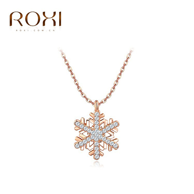 ROXI Vacation Gift New Fashion Jewelry Rose Gold Color Statement Elegant Snowflake Necklace Women Party Wedding