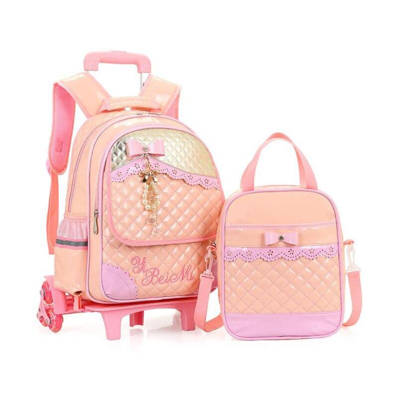 Sacs d'école de chariot à enfants pour les filles pendentif de perle de bande dessinée sac d'école à 3 roues imperméable à l'eau sac à dos en cuir Pu enfants cartables