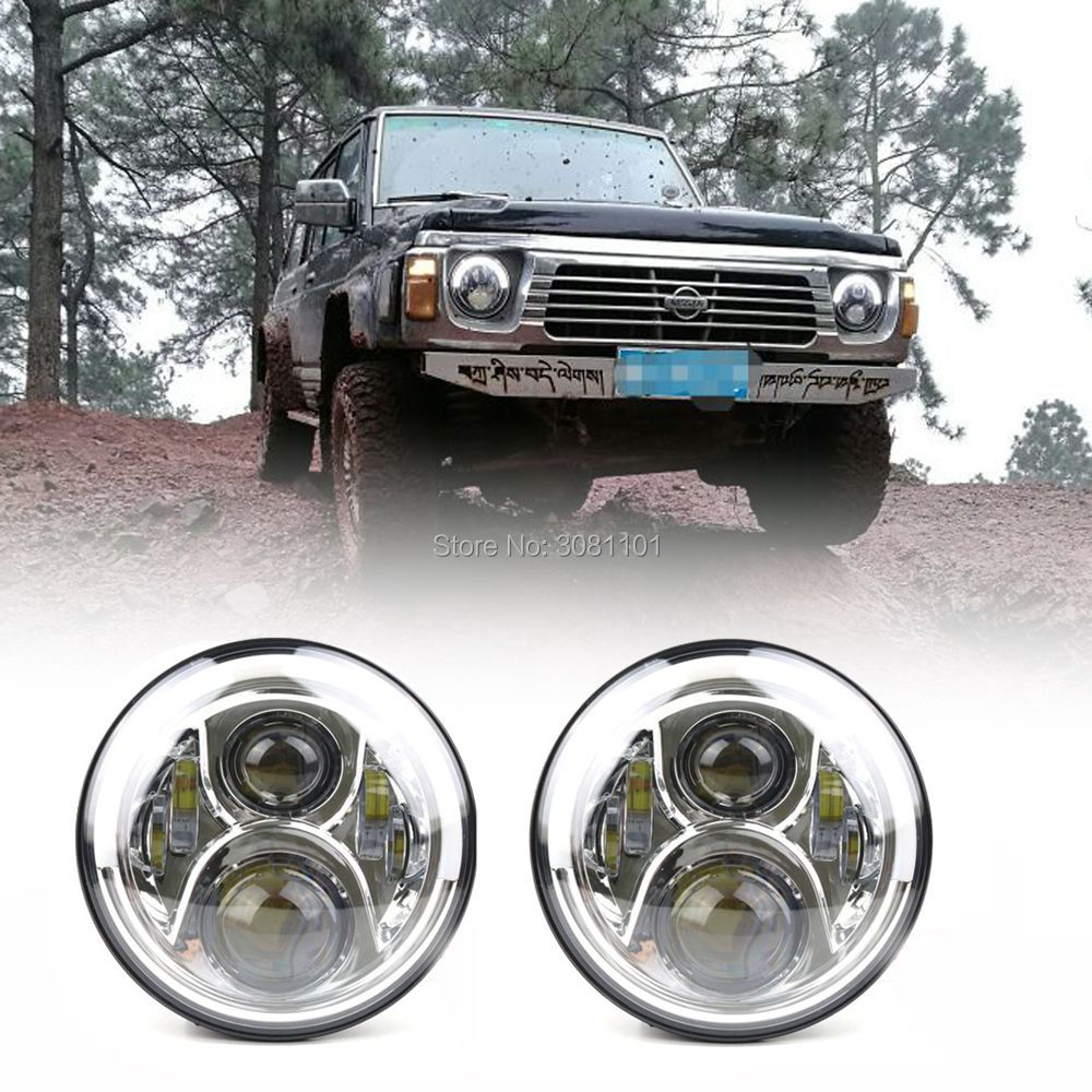 7LED Turn Signal DRL H4 Angel Eye Car-styling Headlight Bulb Projector High/Low Beam for 2007-2014 Jeep Wrangler JK 2/4 Doors headlight for kia k2 rio 2015 including angel eye demon eye drl turn light projector lens hid high low beam assembly