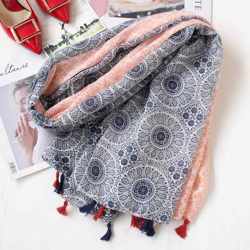 Women   Scarf   Fashion Totem Vintage Blanket Shawl Large   Wrap   Spring Stylish Color Patchwork Soft Hijab [3064]