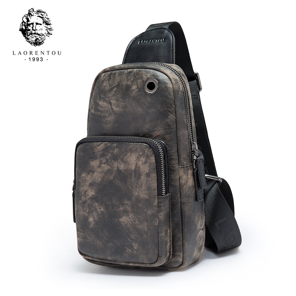 LAORENTOU Men's Chest Bags Shoulder Bags With Headphones Male Hole Messenger Bag Casual Crossbody Bag