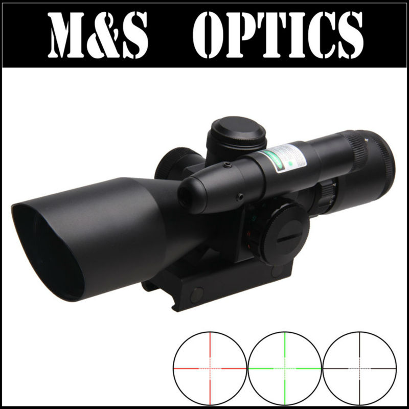 2.5-10X40 Green Red Illuminated Mil-dot  With Green laser Airsoft Guns Reticle Rifle Scope Optics Sight For Hunting m9 3 10x42 mil dot reticle red green illuminated sight rifle scope with red laser for airsoft hunting caza 20mm 11mm mount rail