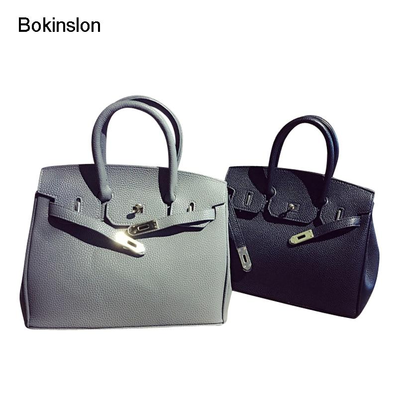 Bokinslon Bags Women Handbags Temperament PU Leather Woman Crossbody Bags Elegant Solid Color Girls Handbag