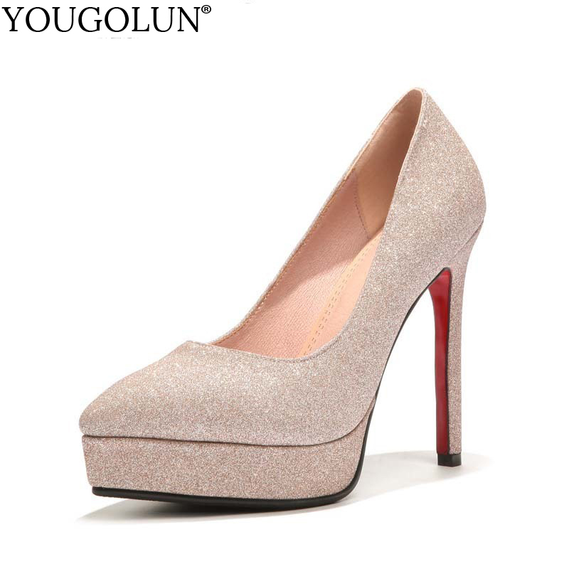 YOUGOLUN Women Pumps New Lady Sexy Wedding Super High Thin Heels Elegant Woman Gold Silver Bling Pointed toe Party Shoes #A-066 luxury shoes women sliver wedding shoes pumps pointed toe gold party extreme high heels bling silver evening ladies shoes 8 6005