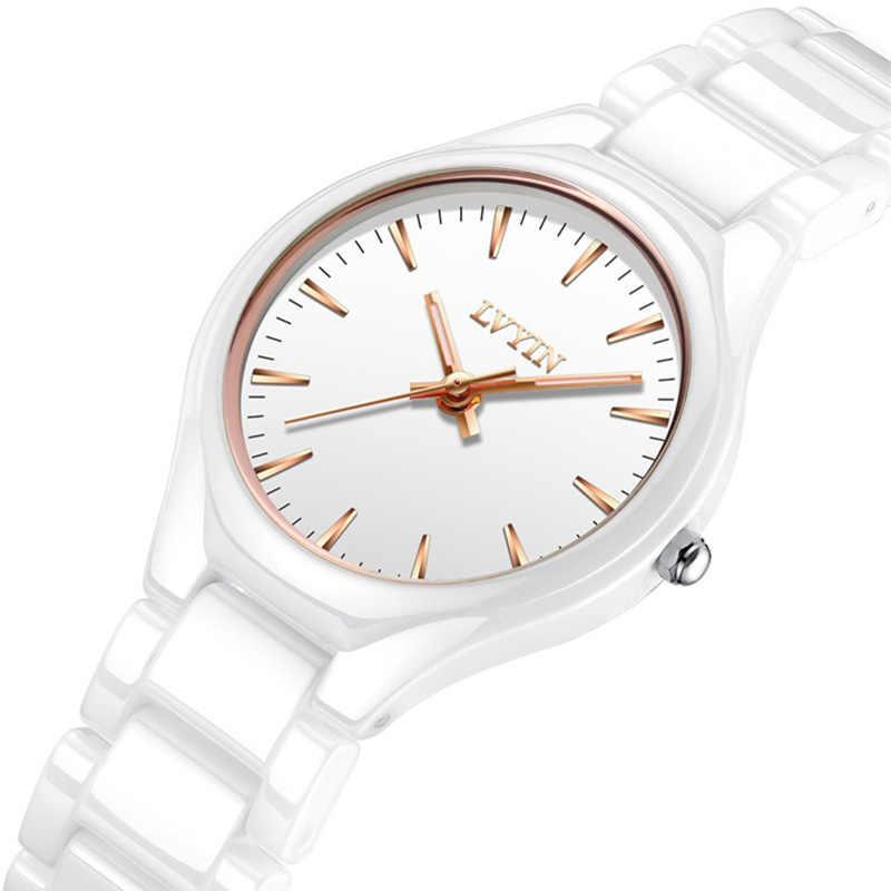 2105da54f6f6 LVYIN женские кварцевые часы простые дизайнерское керамическое браслет часы  ...
