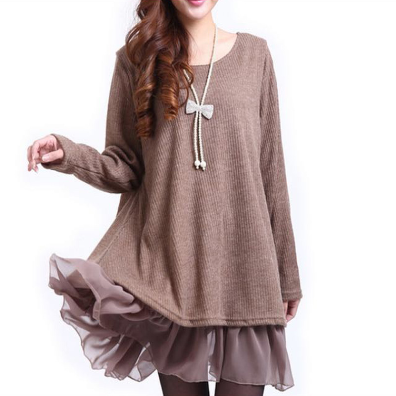 Woman Pregnant Ovetrsized Knitwear Cute Loose Pullover Woman Winter Dresses Knitted Swearter M-4XL winter solid color knitted tunic dresses pregnant woman bottoming knitwear long sleeve wool loose dress women clothes pullovers