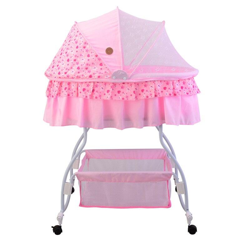 Berceau bébé berceau à bascule avec grand panier balançoire bébé berceau de maille latérale tissu bébé lit à bascule avec poche latérale portable