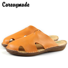 Careaymade-Hotsales,2019 summer new style cowhide womens cool slippers, Sen female retro pure handmade genuine leather shoes