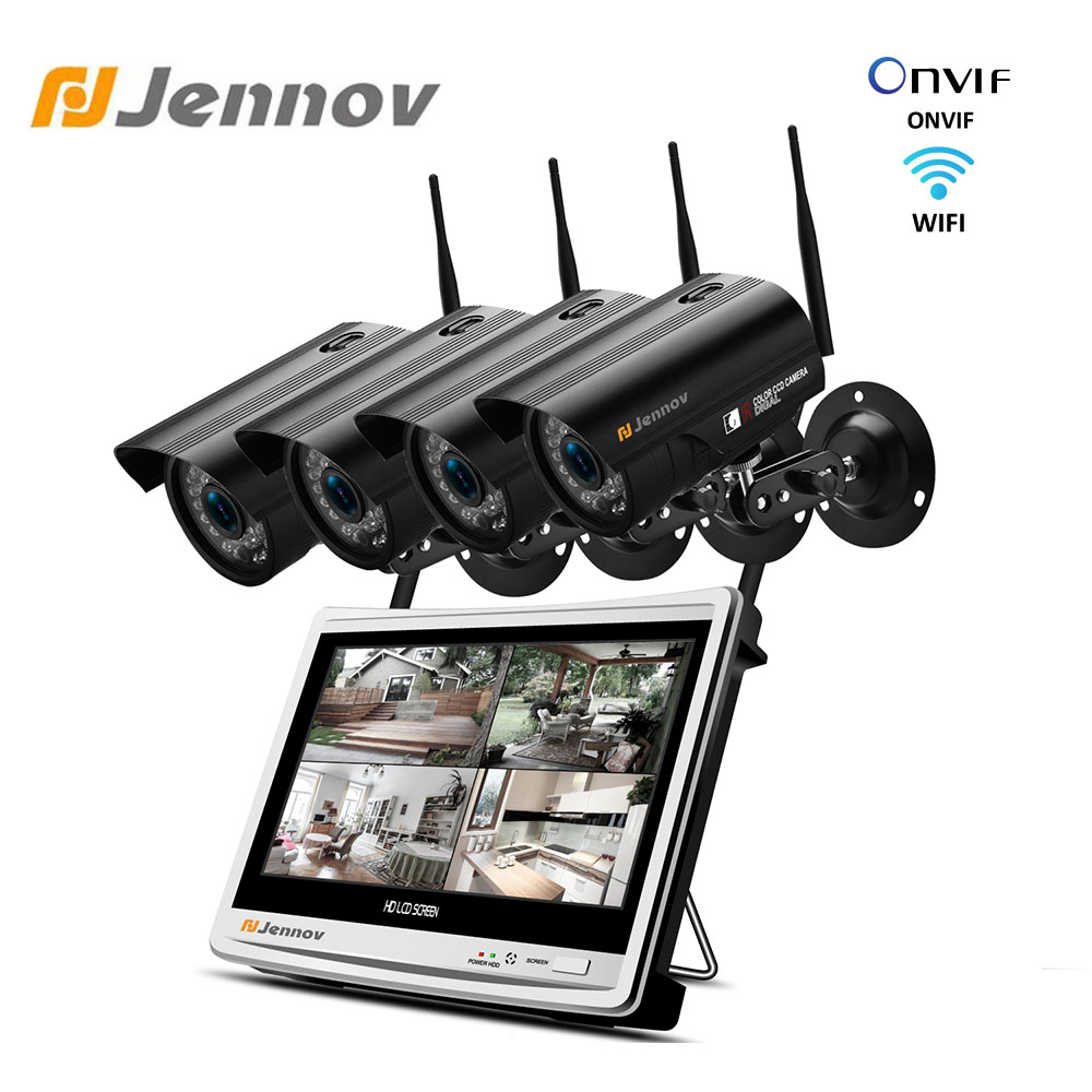 Jennov 4CH 1080P 2MP 12Inch Video Surveillance Kit Camer Wireless Security System 12inch Wireless LCD NVR Monitor CCTV Set IP66