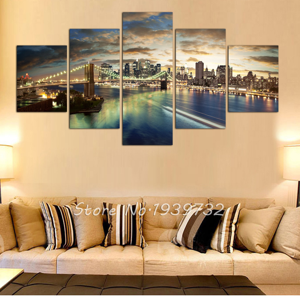 5 panel high quality New York City landscape Canvas Painting Large ...