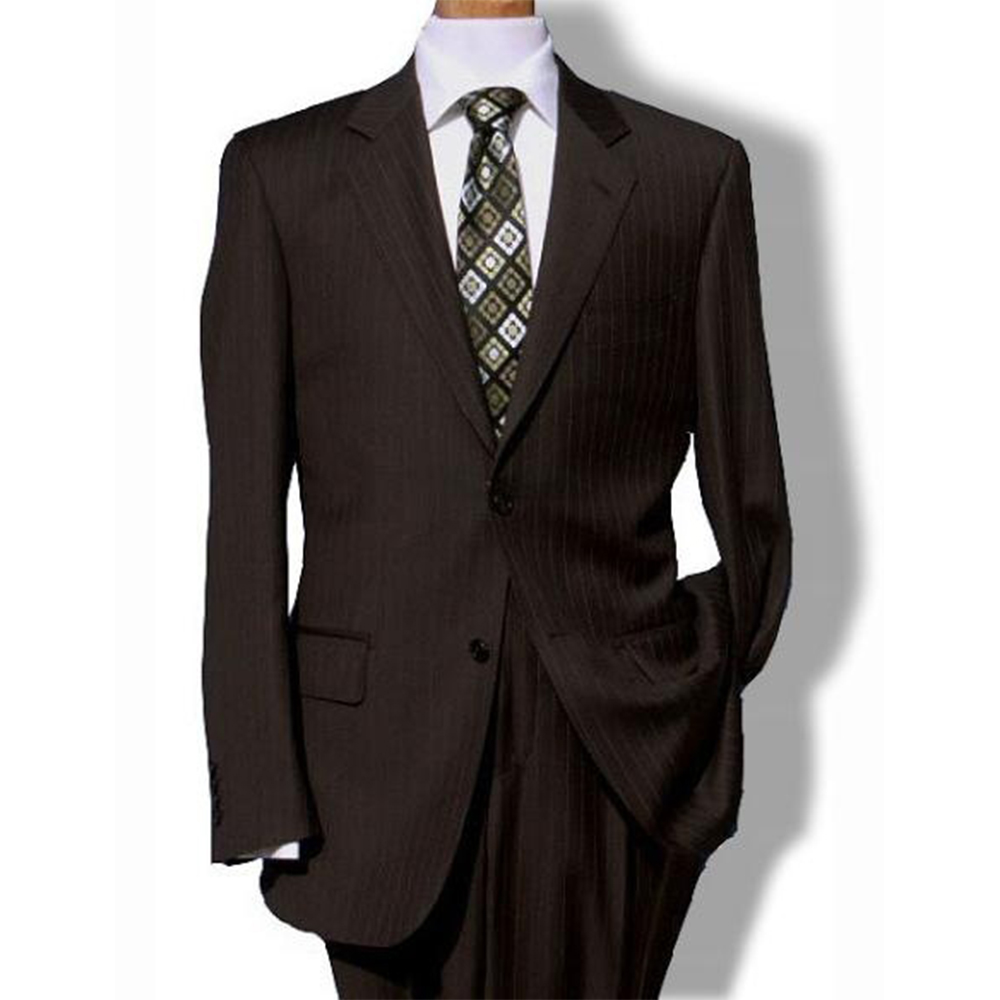 CUSTOM MADE TO MEASURE DARK BROWN PINSTRIPE MEN SUIT,BESPOKE BROWN GROOM TUXEDO