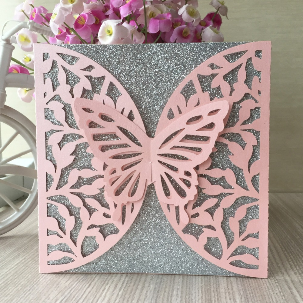 20pcslot Laser Cut Pearl Paper Carved Butterfly Pattern Invitations Card Wedding Decorations Birthday Card Party Favor